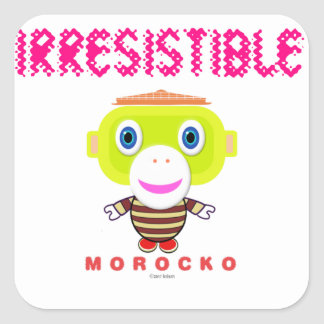 Adesivo Quadrado Macaco-Morocko Irresistível-Bonito