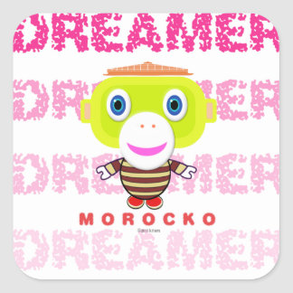 Adesivo Quadrado Macaco-Morocko Sonhador-Bonito