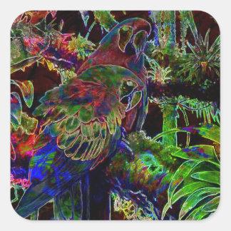 Adesivo Quadrado Macaws no paraíso tropical na noite