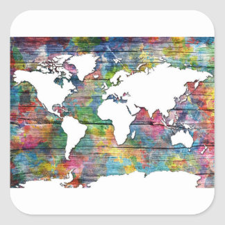 Adesivo Quadrado madeira 12 do mapa do mundo