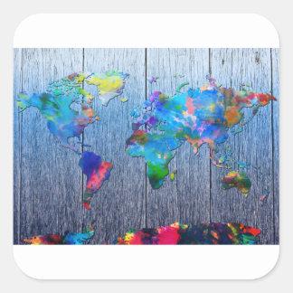 Adesivo Quadrado madeira 2 do mapa do mundo