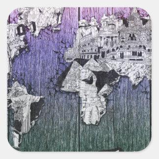 Adesivo Quadrado madeira 6 do mapa do mundo
