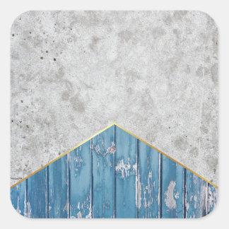 Adesivo Quadrado Madeira azul #347 da seta concreta