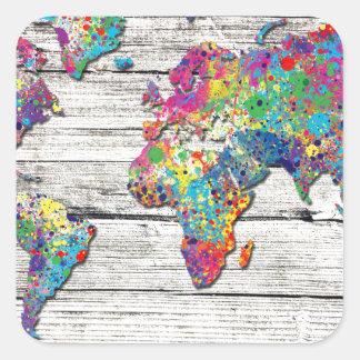 Adesivo Quadrado madeira do mapa do mundo
