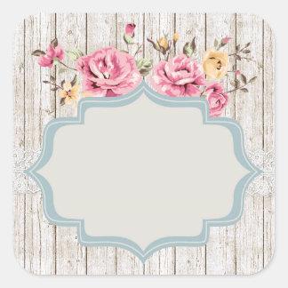 Adesivo Quadrado Madeira rústica floral do chique & laço do vintage