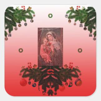 Adesivo Quadrado Madonna e criança [Natal]