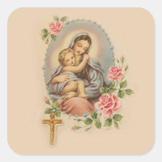 Adesivo Quadrado Mãe Mary do Virgin e rosário & rosas de Jesus do