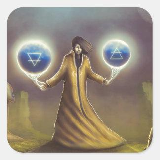 Adesivo Quadrado mágica da fantasia do feiticeiro