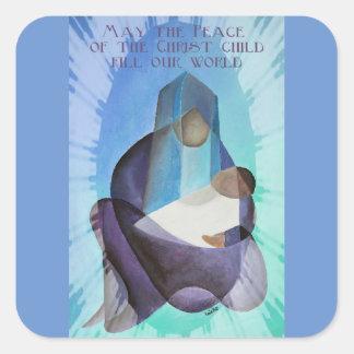 Adesivo Quadrado Maio a paz da suficiência da criança do cristo