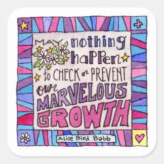 Adesivo Quadrado Maio nada acontece impedir nosso crescimento