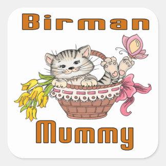Adesivo Quadrado Mamã do gato de Birman
