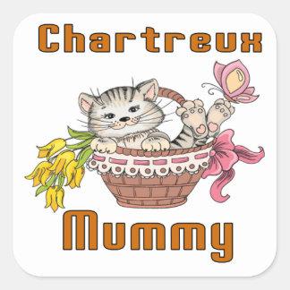 Adesivo Quadrado Mamã do gato de Chartreux