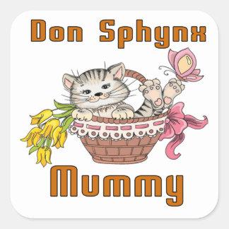 Adesivo Quadrado Mamã do gato de Don Sphynx