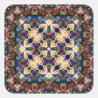 Adesivo Quadrado Mandala celta do vitral do coração do arco-íris