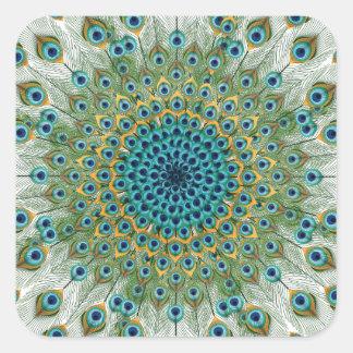 Adesivo Quadrado Mandala colorida do pavão masculino