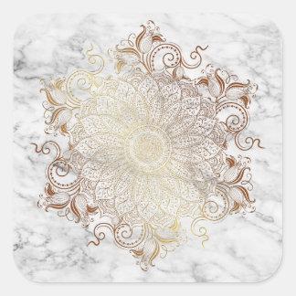 Adesivo Quadrado Mandala - ouro & mármore