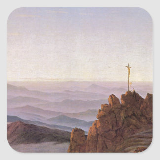 Adesivo Quadrado Manhã em Riesengebirge - Caspar David Friedrich