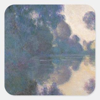 Adesivo Quadrado Manhã no Seine perto de Giverny - Claude Monet.j