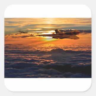 Adesivo Quadrado Manobra do por do sol do bombardeiro de Vulcan