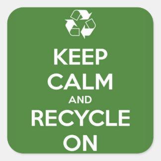 Adesivo Quadrado Mantenha a calma e recicl no verde