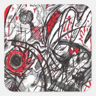 Adesivo Quadrado Mãos do desenho da caneta da raiva
