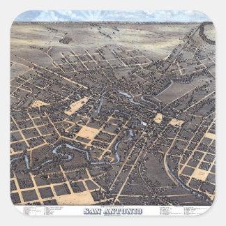 Adesivo Quadrado Mapa aéreo antigo da cidade de San Antonio, Texas