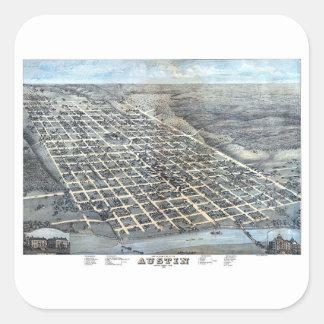Adesivo Quadrado Mapa aéreo antigo de Austin, Texas da cidade, 1873