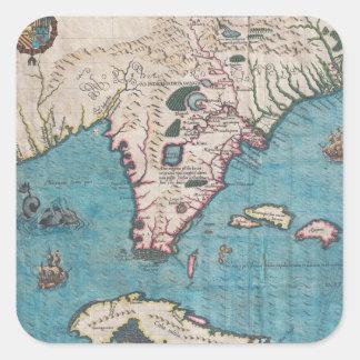 Adesivo Quadrado Mapa antigo de Florida e de Cuba
