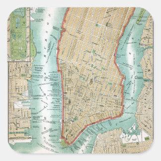 Adesivo Quadrado Mapa antigo do Lower Manhattan e do Central Park