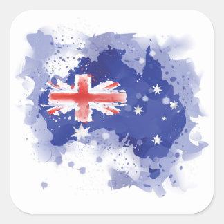 Adesivo Quadrado Mapa da aguarela de Austrália