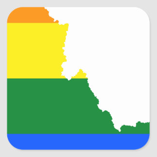 Adesivo Quadrado Mapa da bandeira de Idaho LGBT