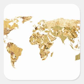 Adesivo Quadrado Mapa da folha de ouro