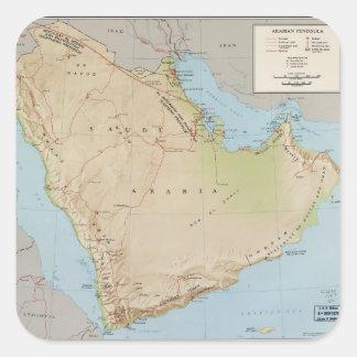 Adesivo Quadrado Mapa da península árabe (1969)