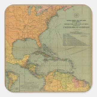 Adesivo Quadrado Mapa de América Central & de Arredores (1909)