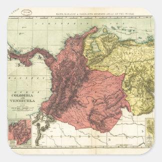 Adesivo Quadrado Mapa de Colômbia e de Venezuela (1898)