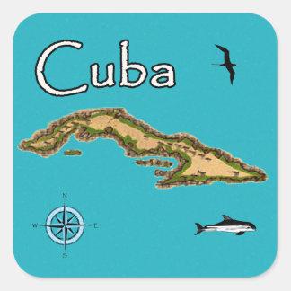 Adesivo Quadrado Mapa de Cuba (vintage)