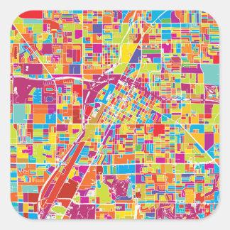 Adesivo Quadrado Mapa de Las Vegas colorido, Nevada