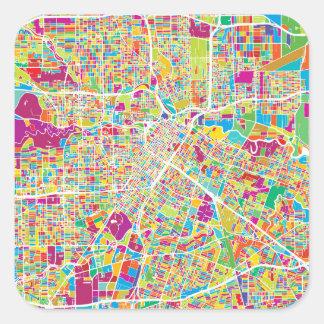 Adesivo Quadrado Mapa de néon de Houston, Texas |