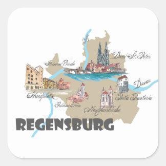 Adesivo Quadrado Mapa de Regensburg Alemanha