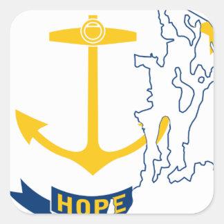 Adesivo Quadrado Mapa de Rhode - ilha da bandeira