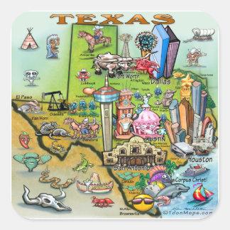 Adesivo Quadrado Mapa do divertimento de Texas