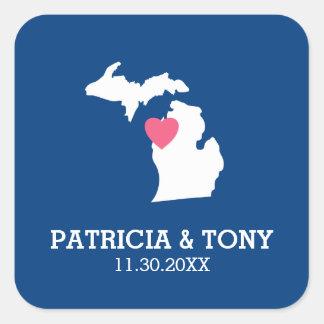 Adesivo Quadrado Mapa do estado do Michigan com coração e nome