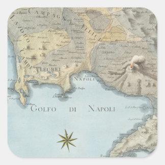 Adesivo Quadrado Mapa do golfo de Nápoles e de arredores
