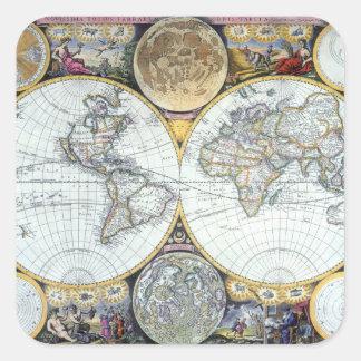 Adesivo Quadrado Mapa do mundo antigo, atlas Maritimus pelo