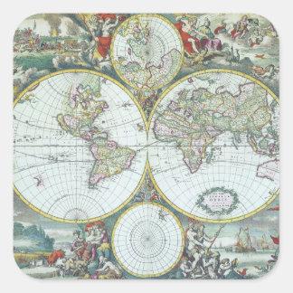 Adesivo Quadrado Mapa do mundo da antiguidade da ilustração do
