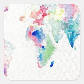 Adesivo Quadrado mapa do mundo da cor de água