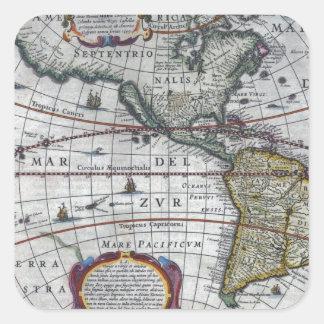 Adesivo Quadrado mapa velho Americas