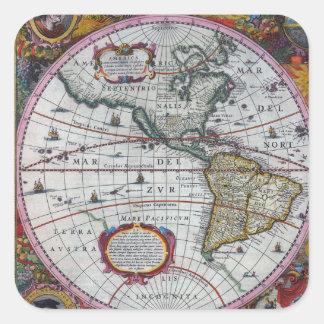 Adesivo Quadrado Mapas velhos de América