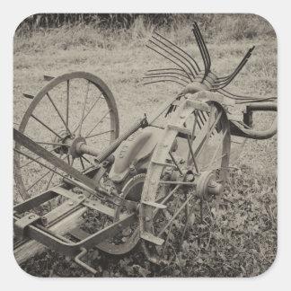 Adesivo Quadrado Máquina agrícola do vintage