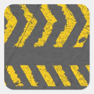 Adesivo Quadrado Marcação de estrada amarela afligida Grunge